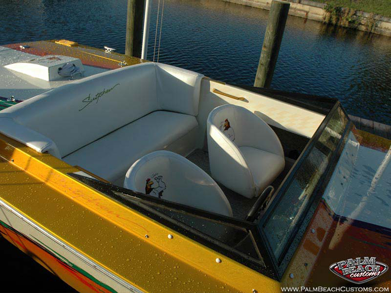 Sutphen rooster, custom paint, interior, boat design, Ft Myers, SWFL
