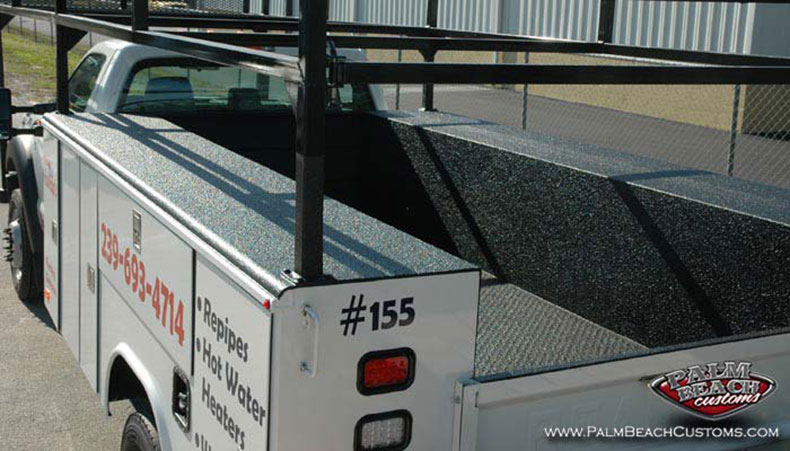 Commercial Pack Lettering and Bed Lining of Commercial Trucks