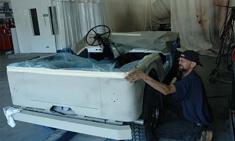 jeep auto body restoration spraying the push