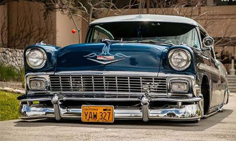 1956 chevy build dark and blue
