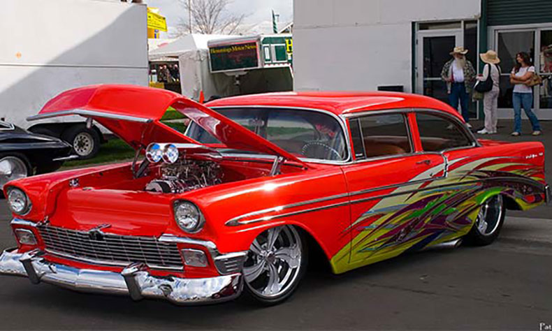 1956 chevy build red