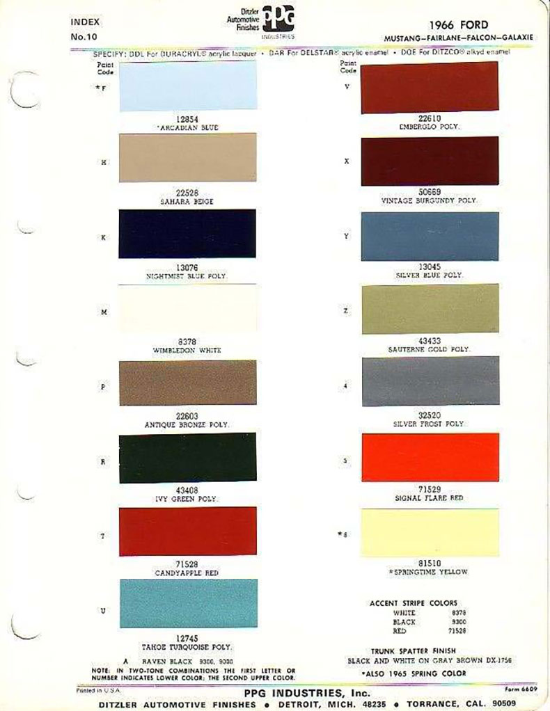 mustang classic cars color palette