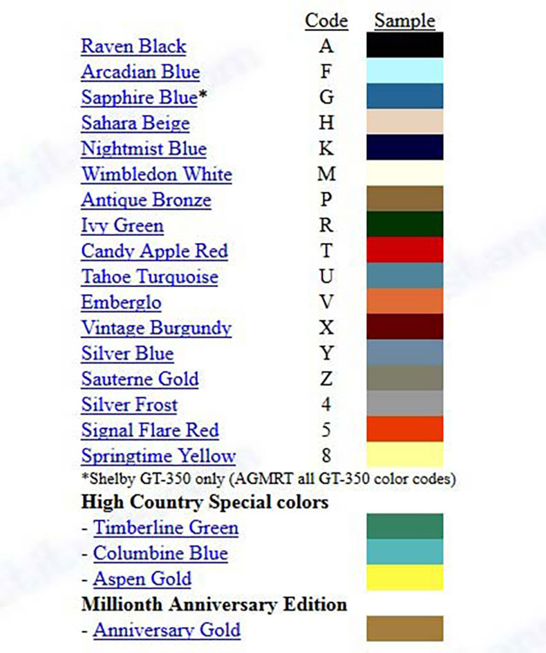 mustang classic cars factory color code chart
