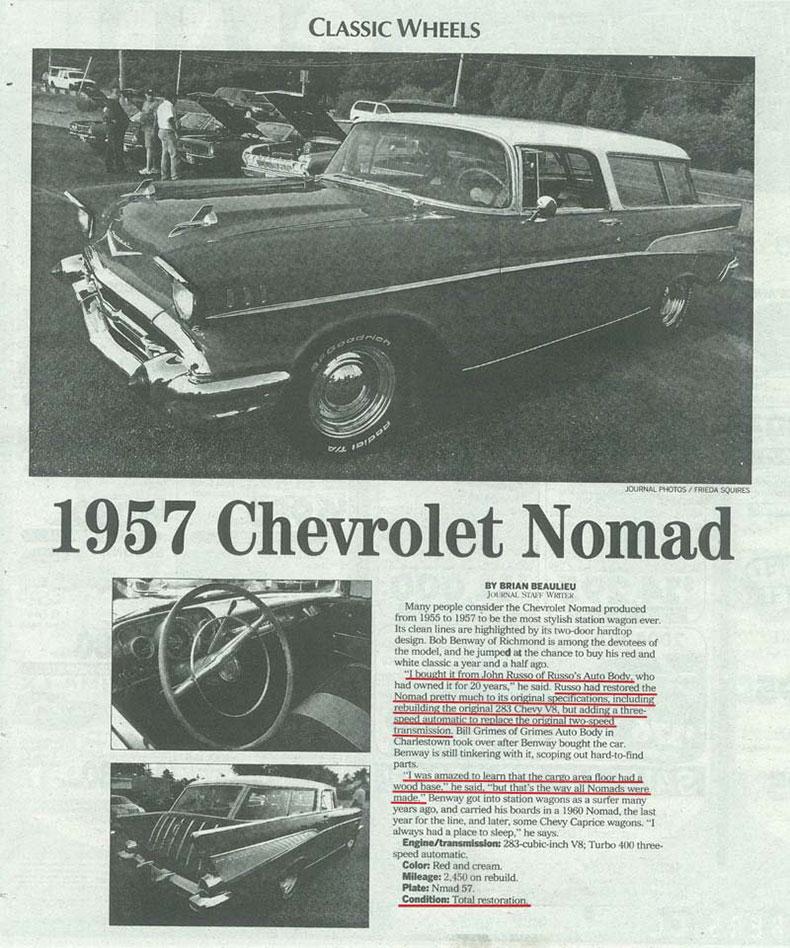 Featured Car: 1957 Nomad complete restoration newspaper