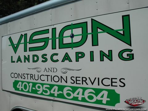 Lettering And Bedlining Of Vision Landscaping Truck