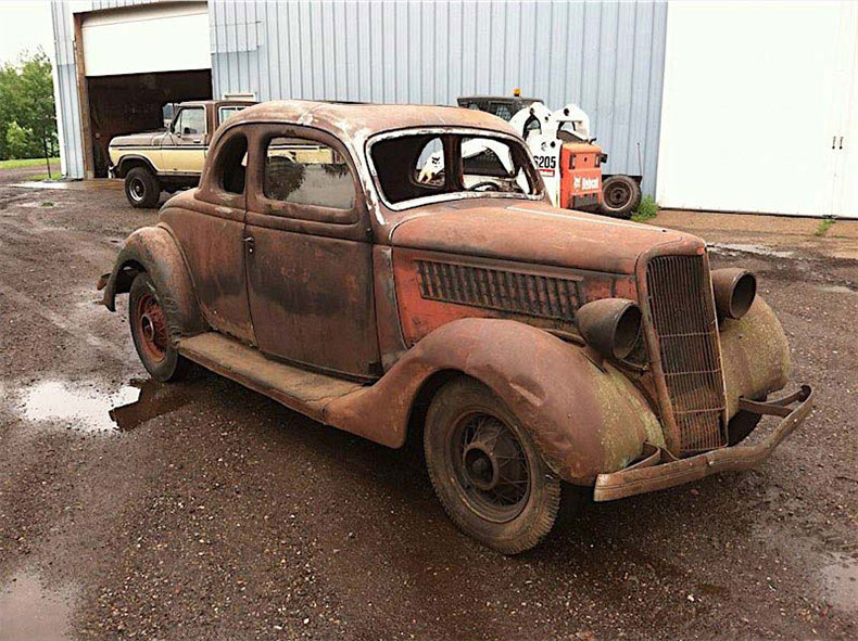 1935 ford 5 window coupe original barn find 2