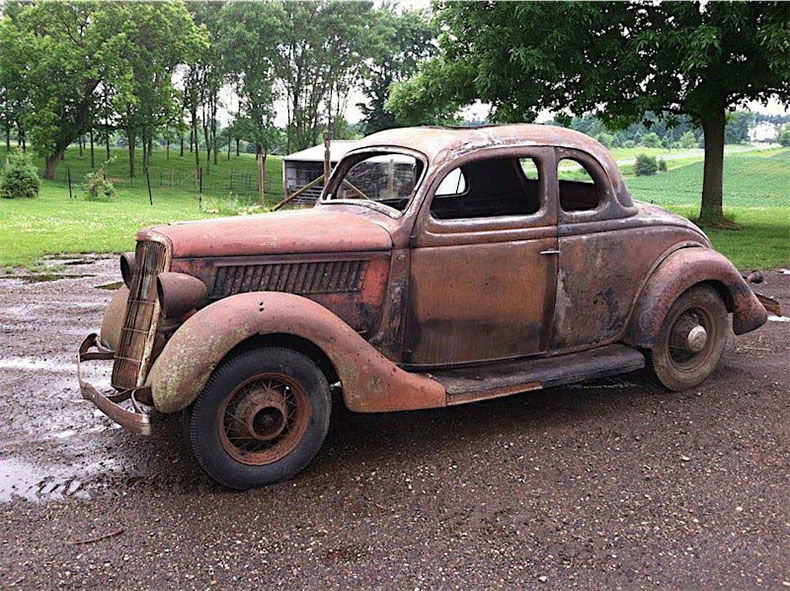 1935 Ford 5 Window Coupe Original Barn Find