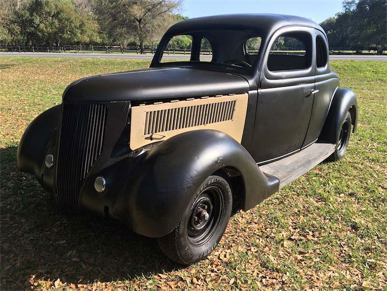 1936 ford 5-window coupe side view