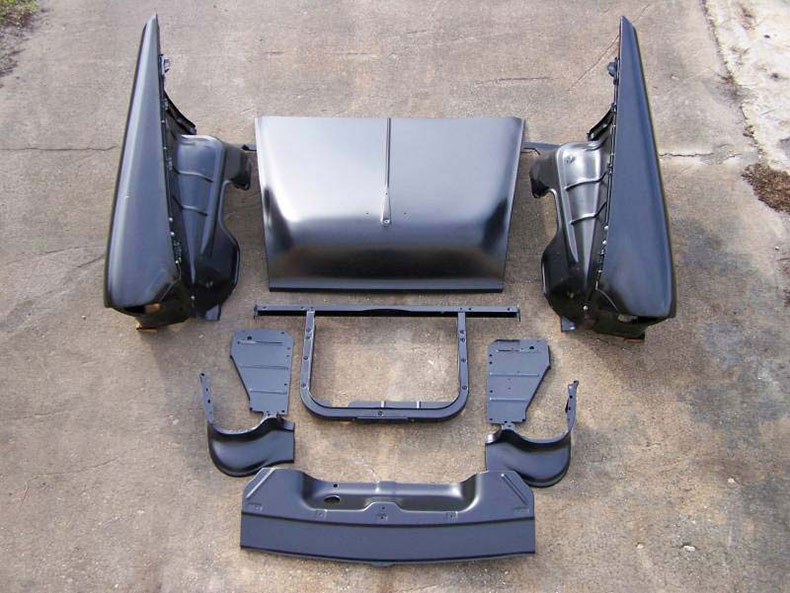 Complete Front End Sheet Metal Package With V8 Core Support To Restore The New Look Of Your 1955 Chevy