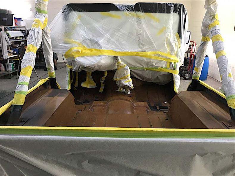 1980 CJ 5 jeep restoration spray on bedliner
