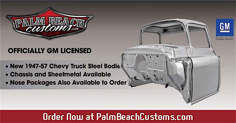 1955-57 tri-5 chevy truck cab steel body header banner