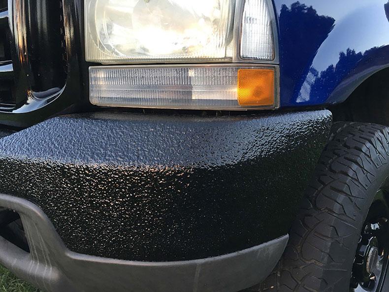 charlie bruni's ford F-350 truck dark blue bedliner restoration