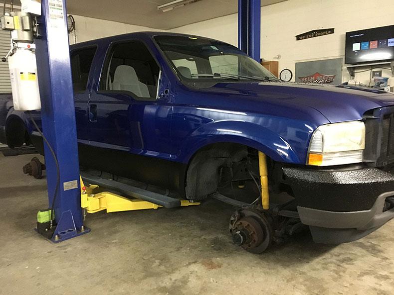 charlie bruni's ford F-350 truck dark blue restoration 1