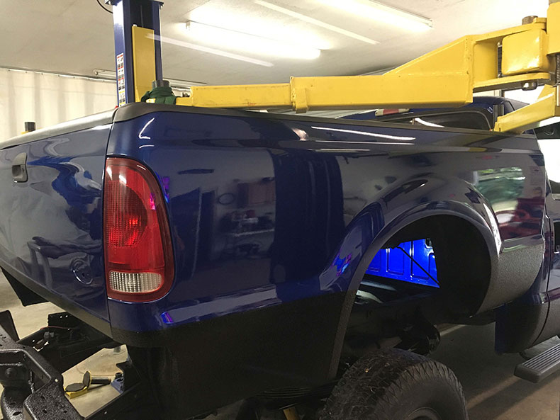 charlie bruni's ford F-350 truck dark blue restoration