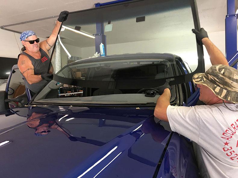 charlie bruni's ford F-350 truck dark blue restoration 4