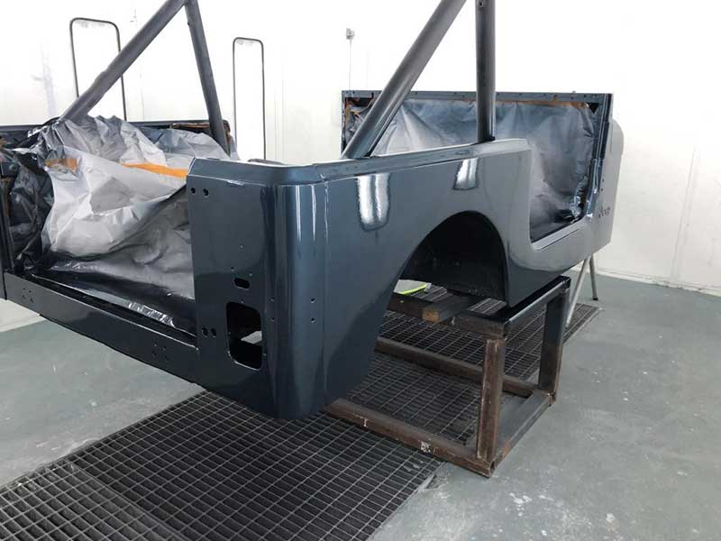 High-Grade Polyurethane Black Color Applied On 1982 Jeep CJ7 Body